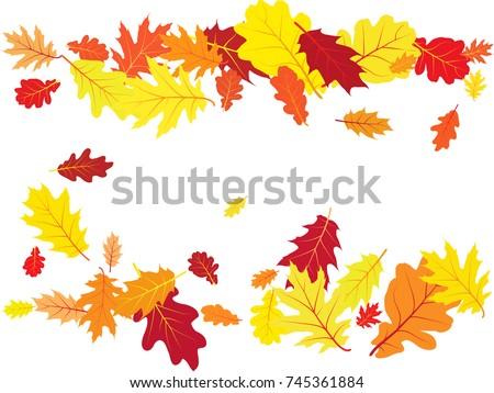 autumn leaves on white background autumnal vector illustration