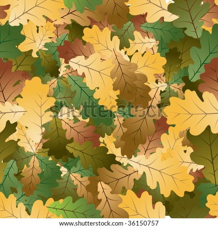 Oak leafs texture - seamless pattern - stock vector