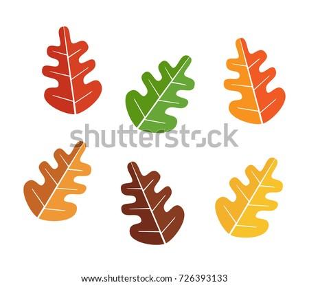 oak leaves set  autumn icon