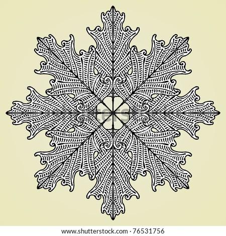 oak leaves star original woodcut
