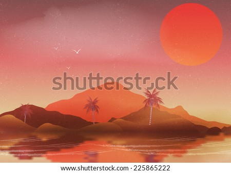 oasis in a hot desert landscape