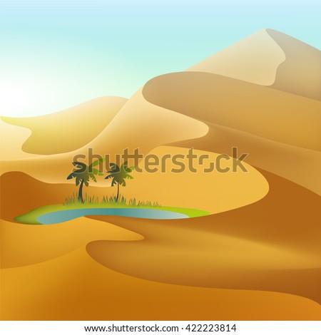 oasis in the desert dunes
