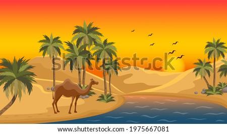 Oasis in the desert dunes. Flat design. Desert Oasis Camels Composition Foto stock ©