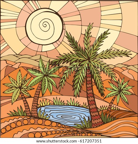 oasis in the desert sand palm