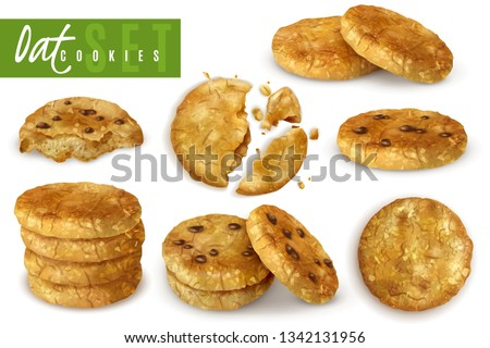 Oat cookies with chocolate crumbs realistic set of whole and crumble cooked pastry isolated vector illustration