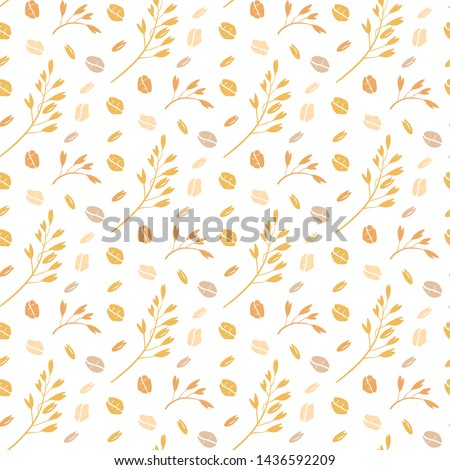 oat pattern vector. Seamless pattern with oat flakes on white background. hand drawn illustration. Spikes and grains of oats, glass with oat milk, carton box and glass jar of milk. Doodle style.