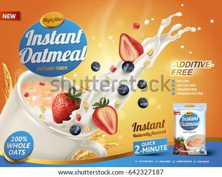 oatmeal ad  with milk splashing
