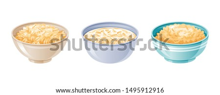 Oats bowl. Oatmeal breakfast cup, oat grain porridge. 3d realistic icon. Cartoon style muesli, flake for healthy sweet breakfast. Cool food design. Vector illustration isolated on white background
