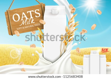 Oats milk ads with swirling liquid and blank carton box on golden grain field in 3d illustration