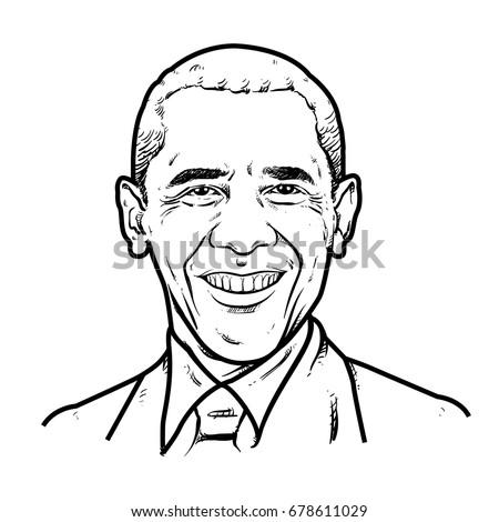 obama hand drawing outline  usa