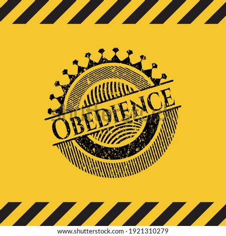 Obedience grunge black emblem with yellow background, warning sign. Vector Illustration. Detailed.  Сток-фото ©