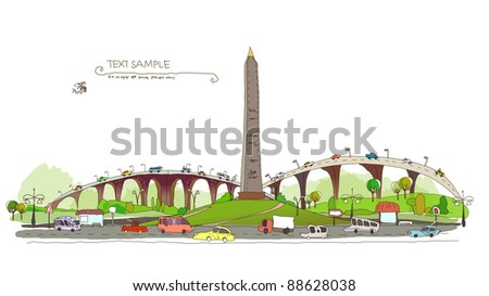 obelisk and roads junction