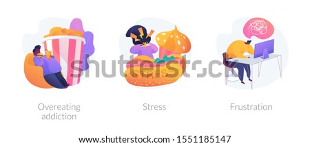 Obesity and unhealthy nutrition, anxiety and panic attack, psychological problem icons set. Overeating addiction, stress, frustration metaphors. Vector isolated concept metaphor illustrations