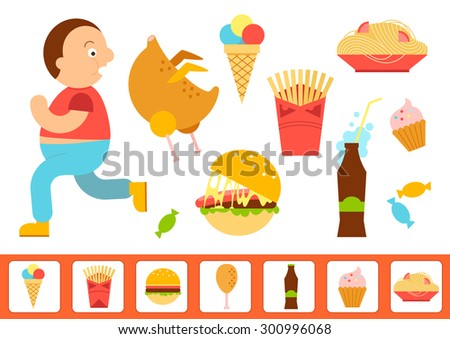 Obesity overweight infographic. Fat man running vector Illustration. Fast food colorful flat design icons set.