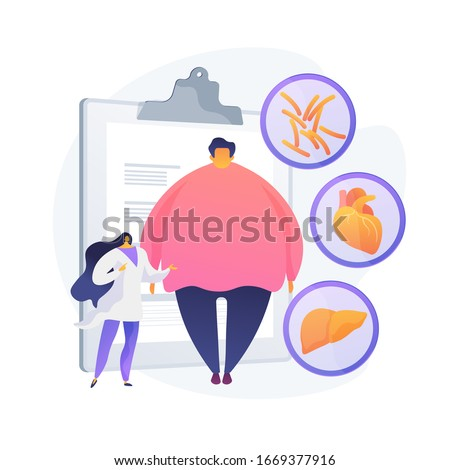 Obesity problem. Overweight man medical consultation and diagnostics. Negative impact of obesity on humans health and internal organs. Vector isolated concept metaphor illustration Stockfoto ©
