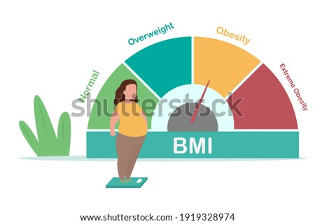 Obesity vector concept: Obese woman standing on the weight scale with BMI Photo stock ©
