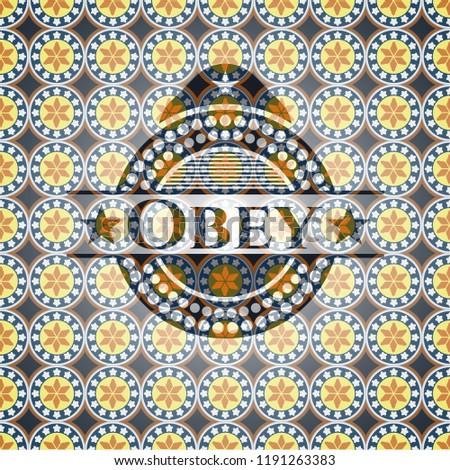 Obey arabesque style badge. arabic decoration.
