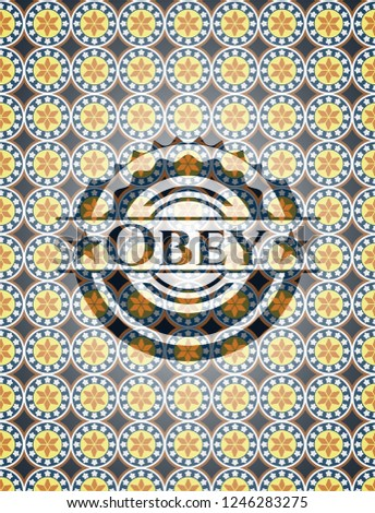 Obey arabesque style badge. arabic decoration.