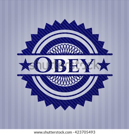 Obey badge with jean texture