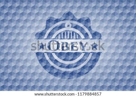 Obey blue polygonal emblem.
