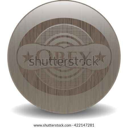 Obey retro style wood emblem