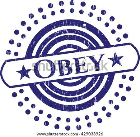 Obey rubber grunge stamp