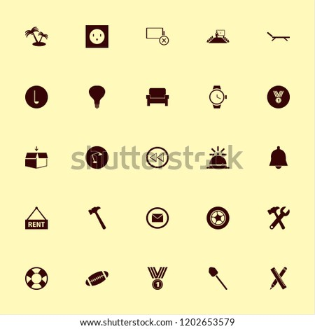 object icon. object vector icons set bell, chaise lounge, wrench hammer and hammer #1202653579