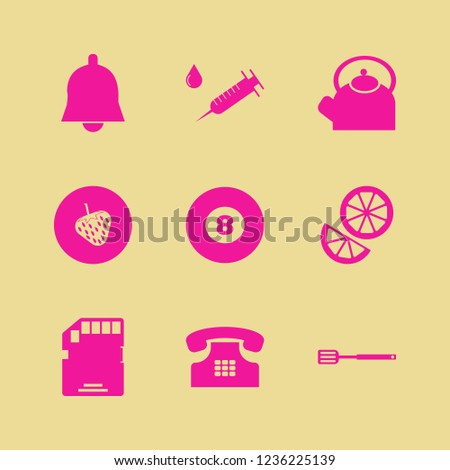 object icon. object vector icons set billiard ball, memory card, strawberry and syringe