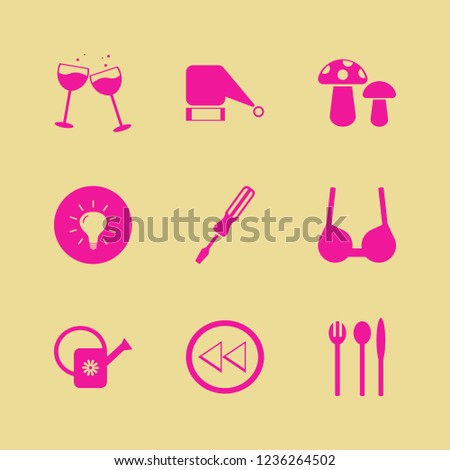 object icon. object vector icons set brassiere, bulb, watering can and screwdriver