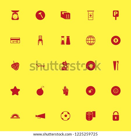 object icon. object vector icons set chair, toothbrush toothpaste, hammer and parcel box