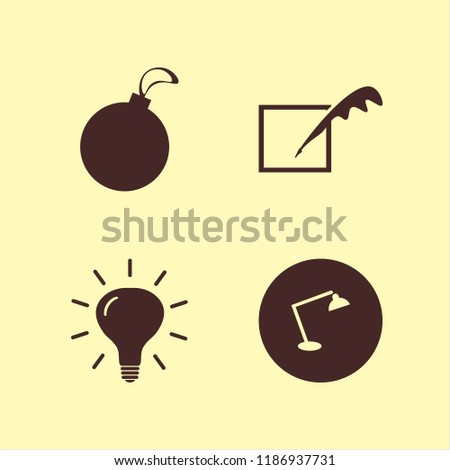 object icon. object vector icons set feather, bulb, christmas ball and desk table lamp #1186937731