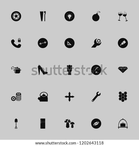 object icon. object vector icons set fridge, glasses wine, shovel and dumbbell #1202643118