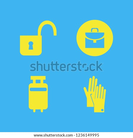 object icon. object vector icons set gloves, open lock, briefcase and travelling luggage