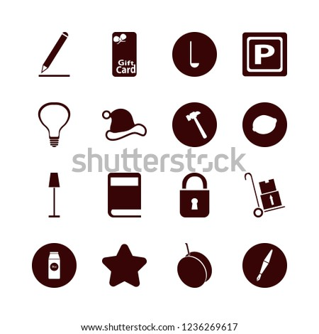 object icon. object vector icons set handcart, santa hat, star and apricot