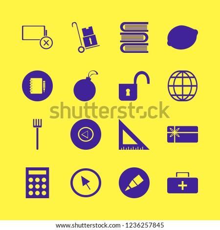 object icon. object vector icons set lemon, calculator, globe and christmas ball