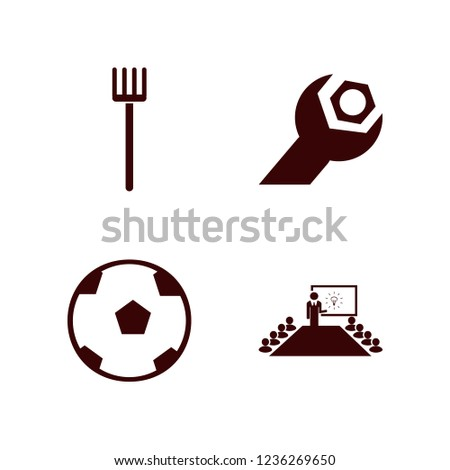 object icon. object vector icons set pitchfork, present new idea, wrench gear and soccer ball #1236269650