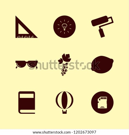 object icon. object vector icons set ruler, book, sunglasses and lemon #1202673097
