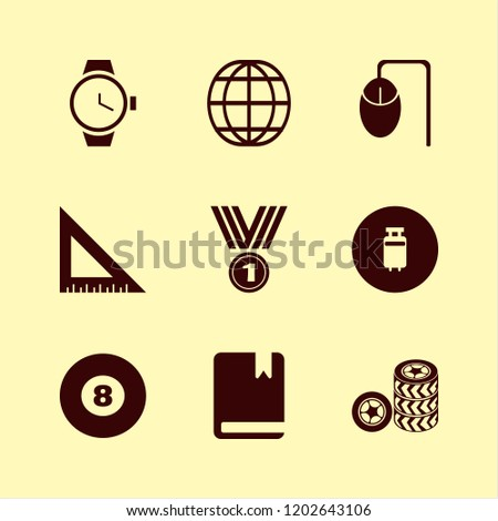 object icon. object vector icons set watch, globe, computer mouse and ruler #1202643106