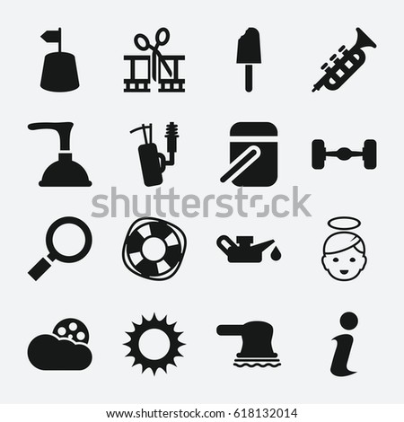 object icon set of 16 object