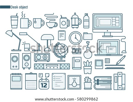 Object on desk line icons vector illustration flat design