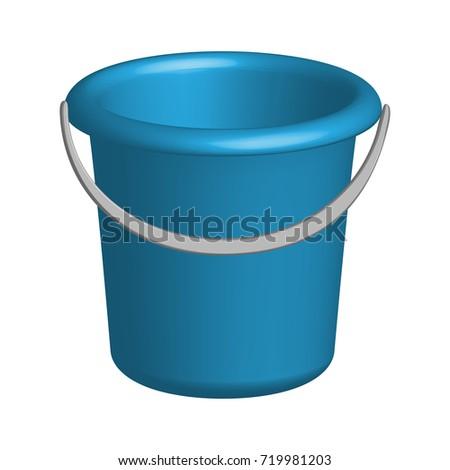 Object plastic bucket in 3D, vector