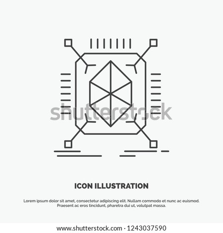 Object, prototyping, rapid, structure, 3d Icon. Line vector gray symbol for UI and UX, website or mobile application