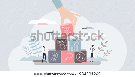 Objective for business as successful target aim results tiny person concept. Company goal achievement after precise, efficient and planned work strategy vector illustration. Profit growth progress.