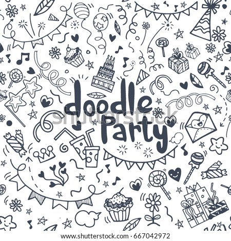 Objects and symbols on the Party element. Hand drawing Doodle,seamless background doodle vector.
