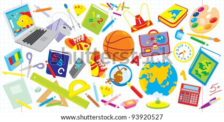 Objects for elementary school: laptop, basketball, textbooks, satchel, paints, globe and many other things for schoolchildren