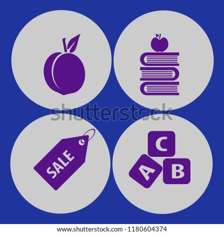 objects icon. objects vector icons set sale tag, abc cubes, books and apple and peach