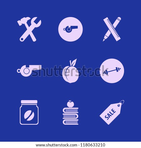 objects icon. objects vector icons set whistle, peach, dumbbell and coffee jar #1180633210