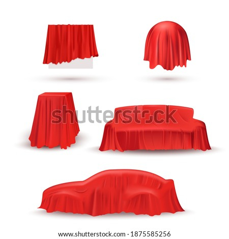 Objects in red cloth drapery set. Silk fabric covering gifts for surprise reveal vector illustration. Hidden car, sofa, table, circle under veil. Mysterious presentation event. Foto d'archivio ©