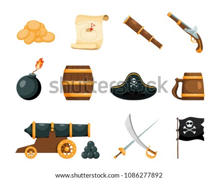 Objects of piracy. Bright objects of the pirate game. Icons on white background. Isolated objects. Vector illustration