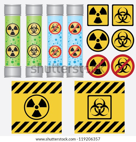 Stock Photo Objects with radioactive and biohazard labels on the white background.